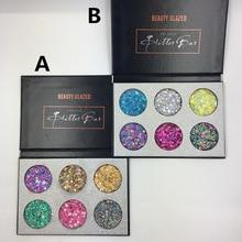 Beauty Glazed 6 Colors Pressed Glitter Bar Makeup Eyeshadow Palette Diamond Glitter Matte Shimmer bling Palette Maquiagem