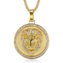 Hip Hop Iced Out Cubic Zircon Lion Head Pendant Necklaces For Men Gold Color Stainless Steel CZ Round Jewelry Gifts Dropshipping hip hop iced out bling horse head pendants necklaces for men gold color stainless steel round cz necklace jewelry dropshipping