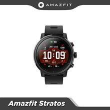 Em estoque versão global amazfit stratos smartwatch música bluetooth gps monitor de freqüência cardíaca 5atm à prova dwaterproof água relógio masculino ao ar livre