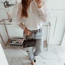 Lace Blouses Puff-Sleeve Celmia Sheer Polka-Dot Women Shirt Summer Tops Blusas Female