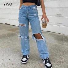 Baggy Jeans Straight Leg Ripped Jeans For Women Fashion Loose High Streetwear Women High Waist Pants Hole Boyfriend Trousers