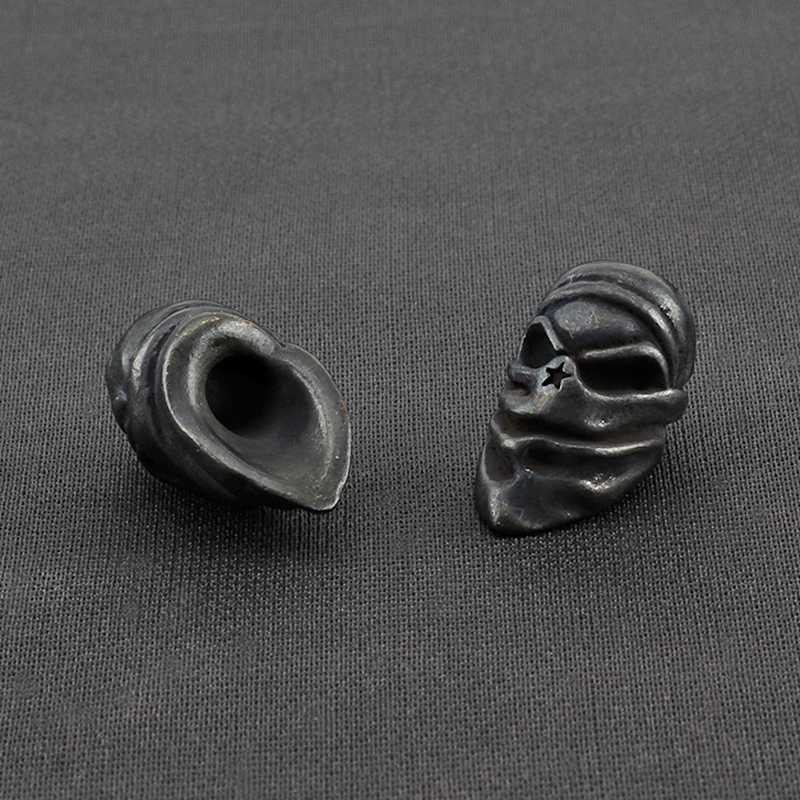 1pcs Vintage DIY Copper Mask Knife Beads Rope Brass Masked Skull Paracord Beads Key Rings Accessories(China)