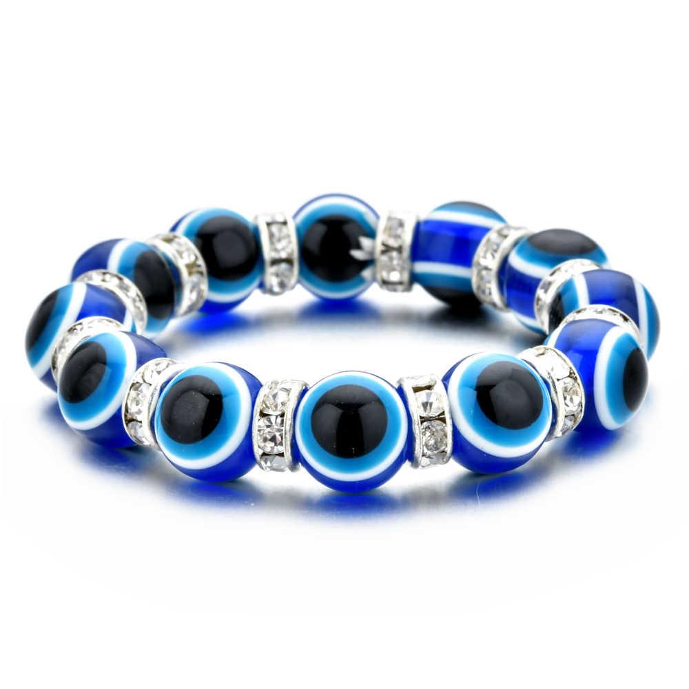Moda turquia azul mau olho crianças pulseira pulseira elástica cristal strand grânulos pulseira para crianças meninas manguito estiramento jóias