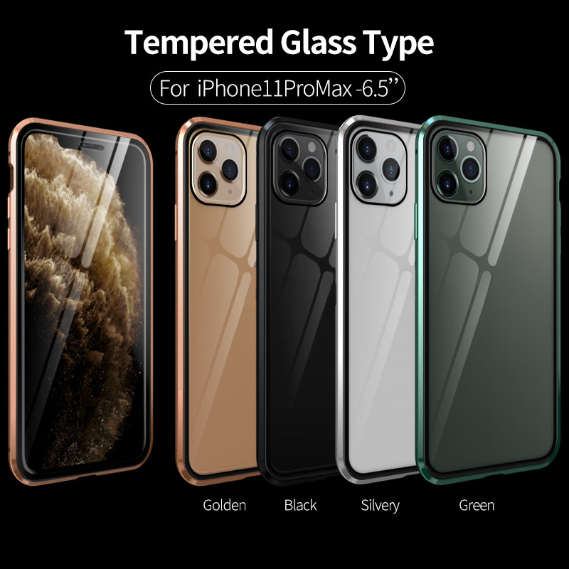 Luxury Shockproof Armor Magnetic Case For iphone 11 Pro Max Front Back Transparent Glass Cover Metal Bumper 360 For iphone11Pro