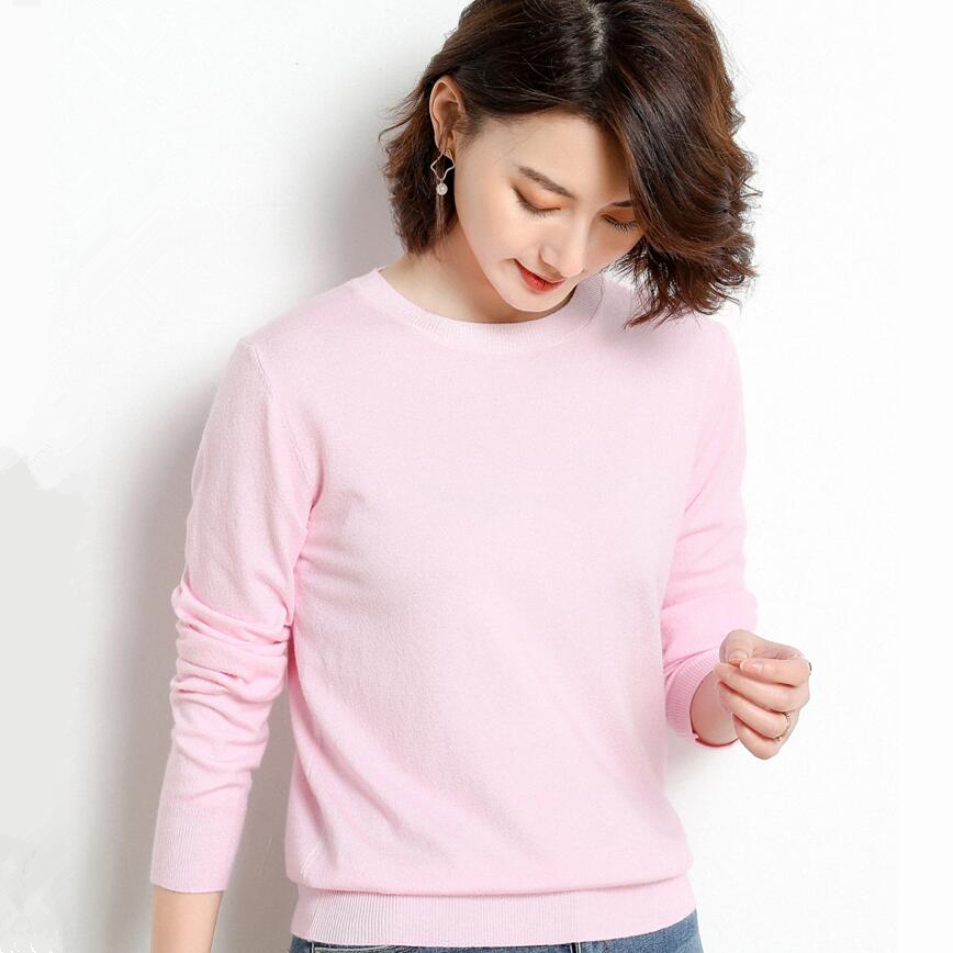 Knitted Women O-neck Sweater Pullovers Knit Jumper Spring Autumn Basic Women Sweaters Pullover Soft Slim Fit Top Knitwear Female