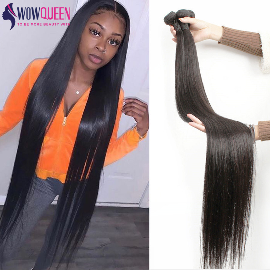 WOWQUEEN Weave Bundles Hair-Extensions Brazilian Hair Remy Straight 32-34 36-40