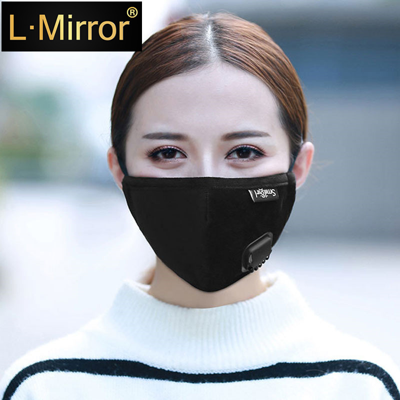L.Mirror 1X Cotton PM2.5 Black Anti Dust Mouth Mask Activated Carbon Filter Windproof Mouth-muffle Bacteria Proof Flu Face Masks