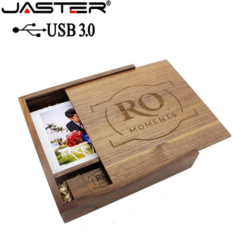 JASTER USB 3.0 Wooden Photo Album Usb+Box Usb Flash Drive Pendrive 4GB 16GB 32GB 64GB PhotographyWedding Gift (170mm*170mm*35mm)
