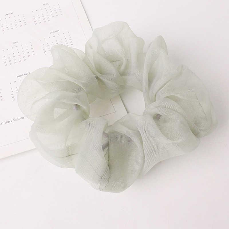 2019 كوريا بلون اليدوية الشعر العلاقات مطاطا الشعر حلقة الأخضر رباطات للنساء الفتيات أغطية الرأس الشعر ملحقاتها