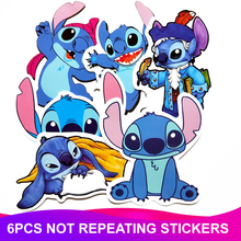 6pcs/Pack Cartoon Stitch Stickers Waterproof PVC Skateboard Travel Suitcase Scrapbooking Phone Laptop Sticker Kids Classic Toy