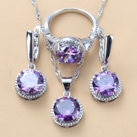 Young Girl/Lady Lovely Wedding Sets Round Purple Crystal CZ Earrings Necklace And Ring 925 Sterling Silver Jewelry Sets For Women 10-Color Jewelry Fashion Jewelry