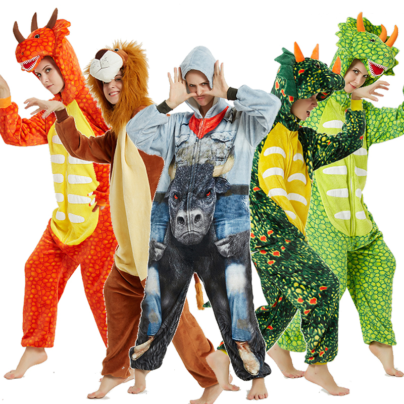 Dinosaur Lion Pajamas For Men And Women Winter Adult Hooded Unicorn Pajamas Sleepwear For Women Home Clothes Christmas Onesies