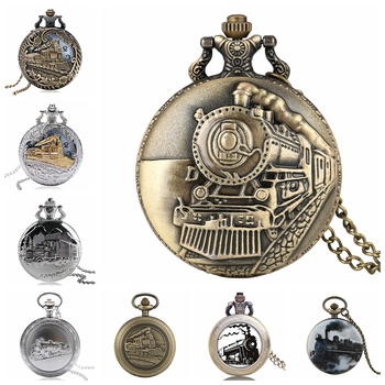 Retro Train Locomotive Engine Pattern Quartz Pocket Watch Bronze Steampunk Necklace Pendant Chain Collectible Gift for Men Women - discount item  27% OFF Pocket & Fob Watches