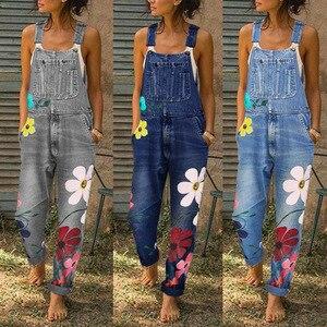 Женский джинсовый комбинезон с цветочным принтом, голубой джинсовый комбинезон для лета 2020