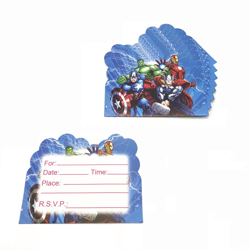 Us 1 15 26 Off 10pcs Cartoon Avengers Theme Disposable Invitation Card Boys Girls Birthday Party Invitation Card 14x11cm Greeting Card Supply In