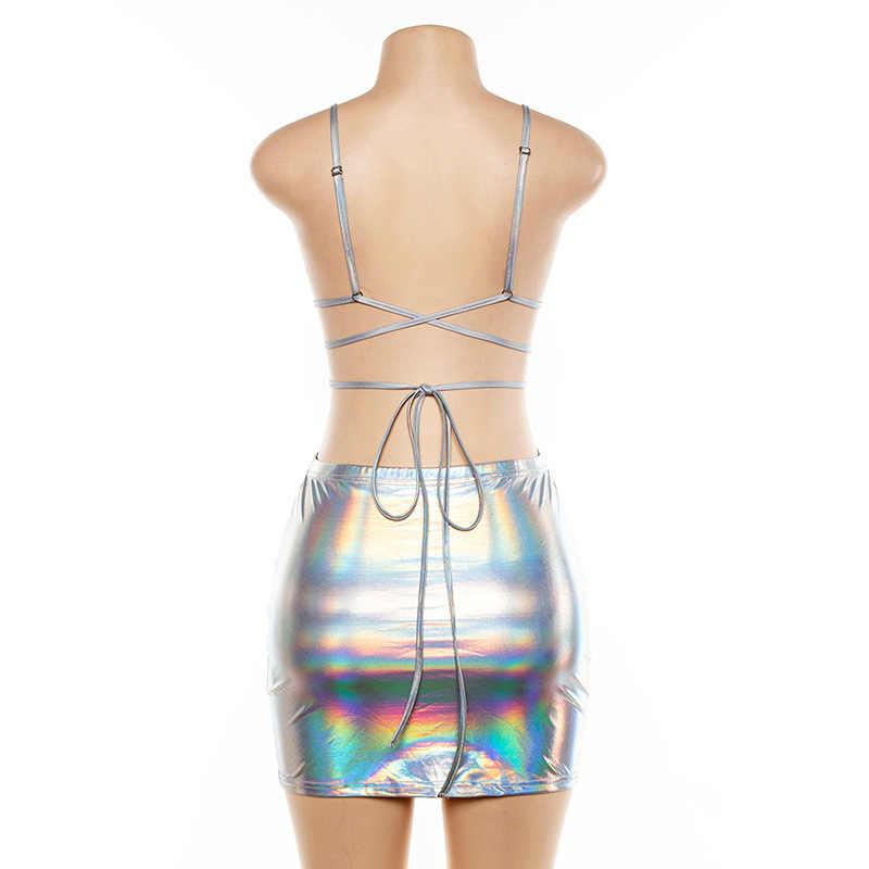 Helisopus/новые женские голографические сексуальные комплекты с перекрестными ремешками, жилетка с сумкой, облегающая мини-юбка, комплект из двух предметов, Клубные наряды