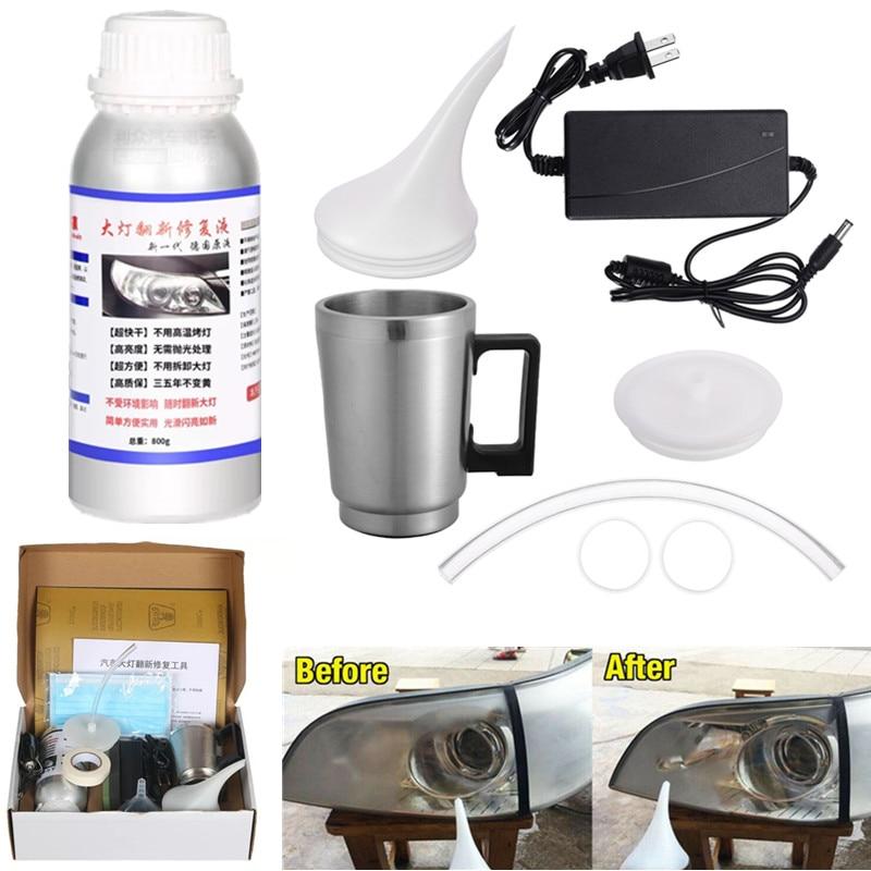 Headlight Polishing Vapor Kit Car Headlight Restoration Repair Cleaning 800ML Car Headlight Repair Fluid Headlights Restorer