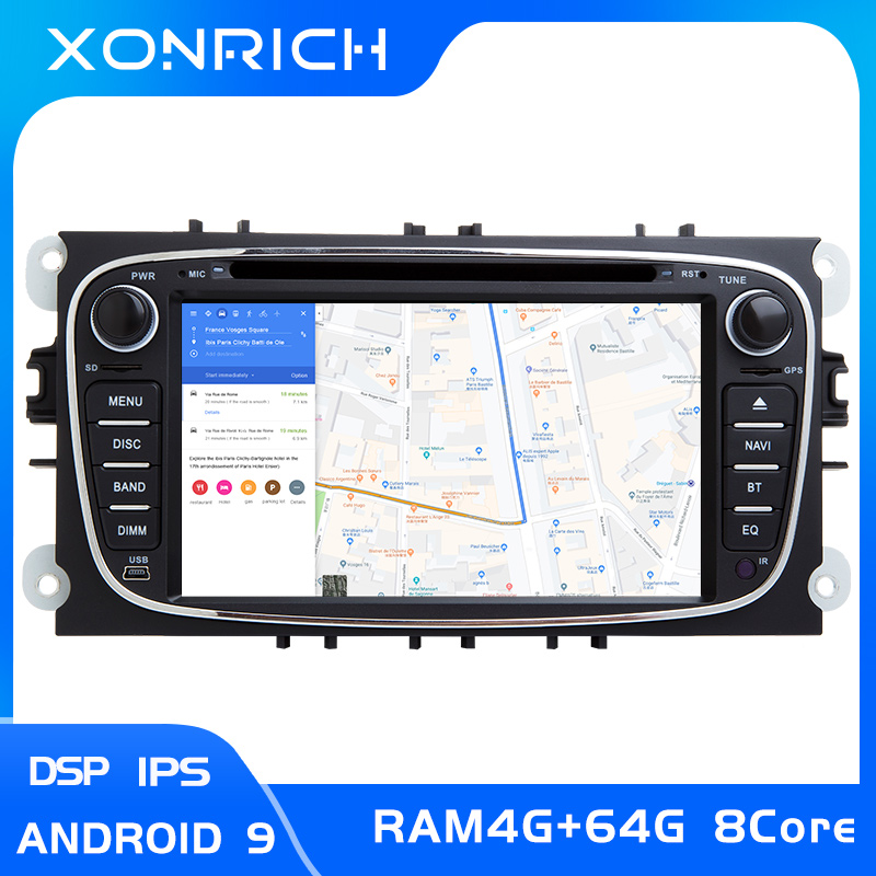 4GB2 din Android 9 Car Radio <font><b>Multimedia</b></font> For <font><b>Ford</b></font> <font><b>Focus</b></font> 2 3 <font><b>mk2</b></font> Mondeo 4 Kuga Fiesta TransitConnect S-MAXC-MAX 8 Core IPS DSP 64G image