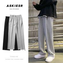 Pantalones de chándal de terciopelo para hombre, pantalón informal de pierna ancha, holgado, recto, para pista corredores, S-2XL