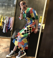 South Korea Dongdaemun Playful Geometric Pattern Dress