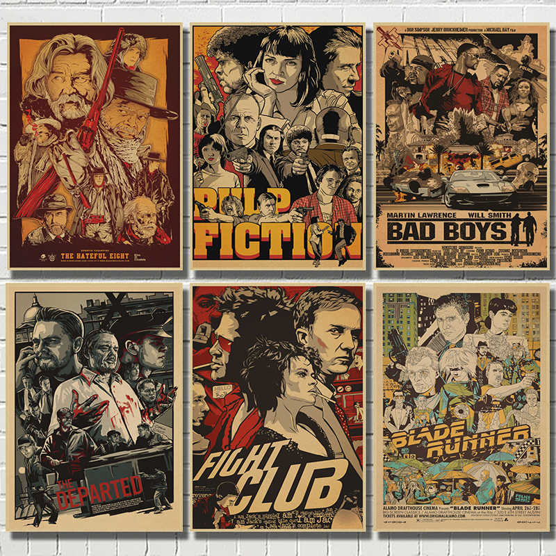 Fight Club/Pulp Fiction/Kill Bill película clásica Kraft papel Poster Bar Café sala de estar comedor pared pinturas decorativas