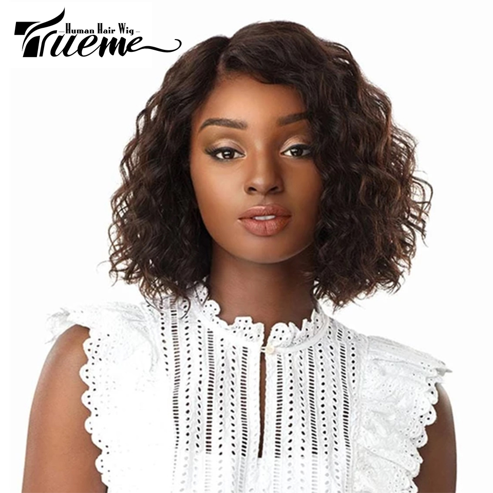 Trueme Curly Human Hair Short Wigs For Black Women Remy Brazilian Hair Water Wave U Part Lace Wigs For Women Curly Bob Wig