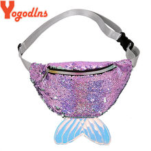 Yogodlns Shinning Reflective Sequin Chest Bag Women Mermaid Sequined Tail Waist Pack Bags Girls Shoulder Bag Make-up Phone Pouch(China)