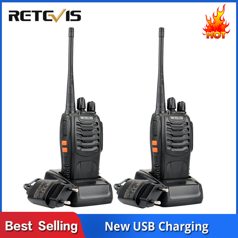 2 Pcs Retevis H777 Cheap Walkie Talkie Radio 3W UHF Handheld Transceiver Two-way Radio USB Charging Walkie-Talkie Communicator
