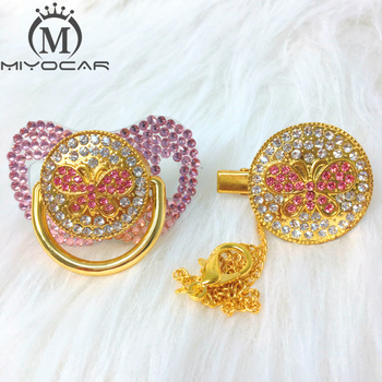 BLING Pink bling pink Butterfly Rhinestone pacifier and clip set pacifier chain holder gold pacifier pink rhinestone ABBF-SP