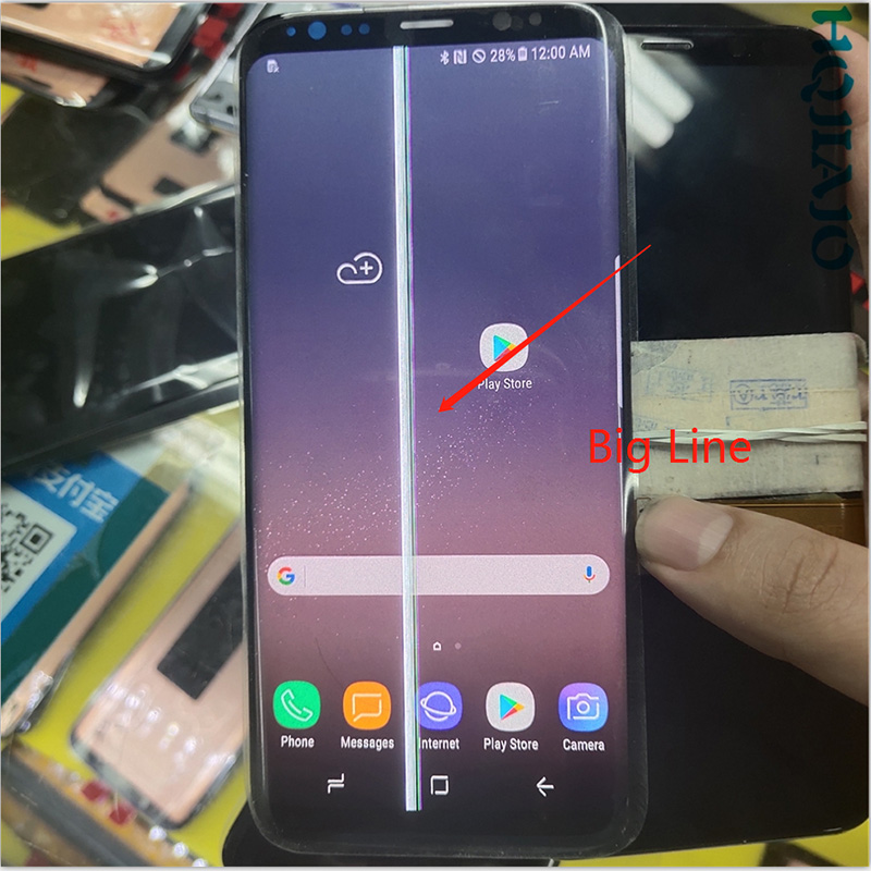SUPER AMOLED <font><b>S8</b></font> LCD For <font><b>Samsung</b></font> Galaxy <font><b>S8</b></font> G950 G950F Lcd <font><b>Display</b></font> Touch Screen Digitize With a big line image