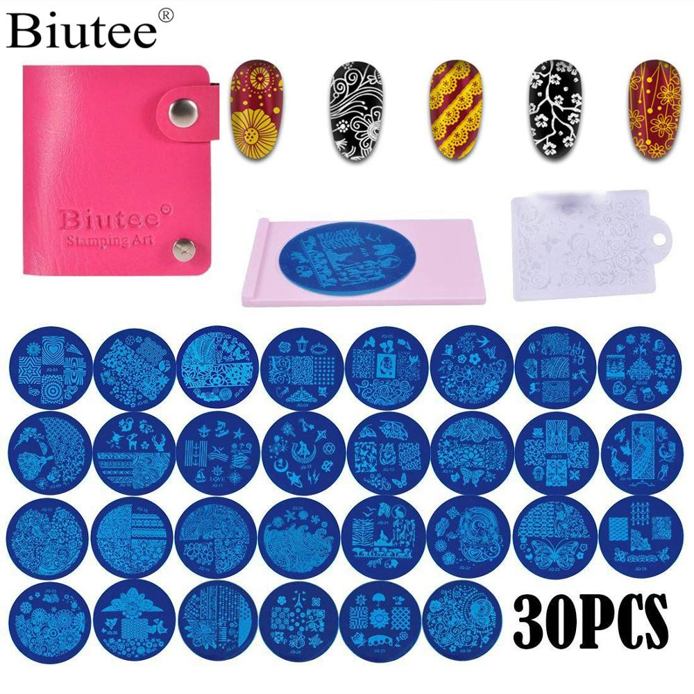Biutee 30pcs Rould Stamp Templates +1 Scraper Set  DIY Nail Plates Manicure Nail Decoration Tools Hot New Flower Animal Pattern