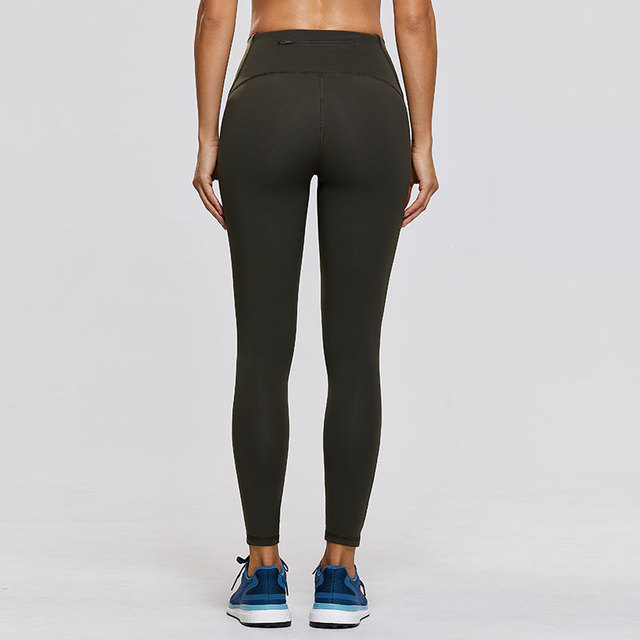 Naked Feeling High-Rise 7/8 Mesh Tight Workout Leggings with Zip Pocket