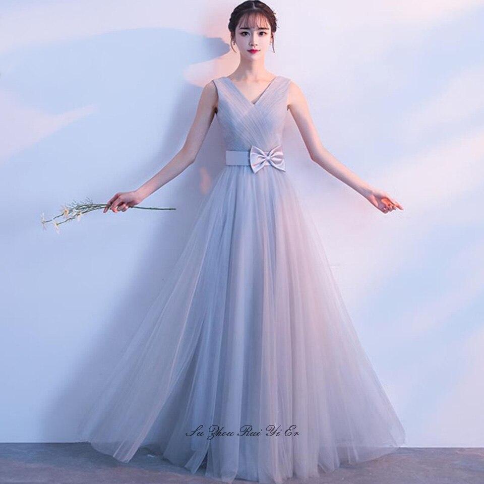 Elegant V-neck Bridesmaid Dresses Lace Up Back Wedding Guest Dress For Wedding Party Floor Length A-Line Tulle Vestidos De Festa