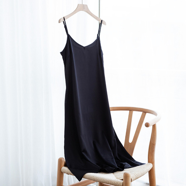 Fashion High Quality Women's Dress Summer Spaghetti Satin Long Woman Dress Very Soft Smooth Plus Size S-4XL M30262 2