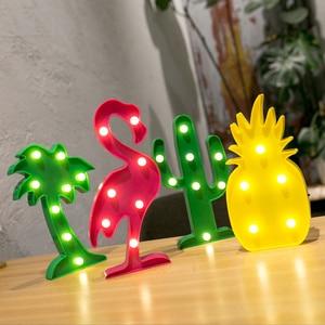 Image 1 - LED 子供ナイトライトフラミンゴユニコーン Led ランプペンダント Led ライトパイナップルサボテンスタールミナリー壁ランプの装飾照明