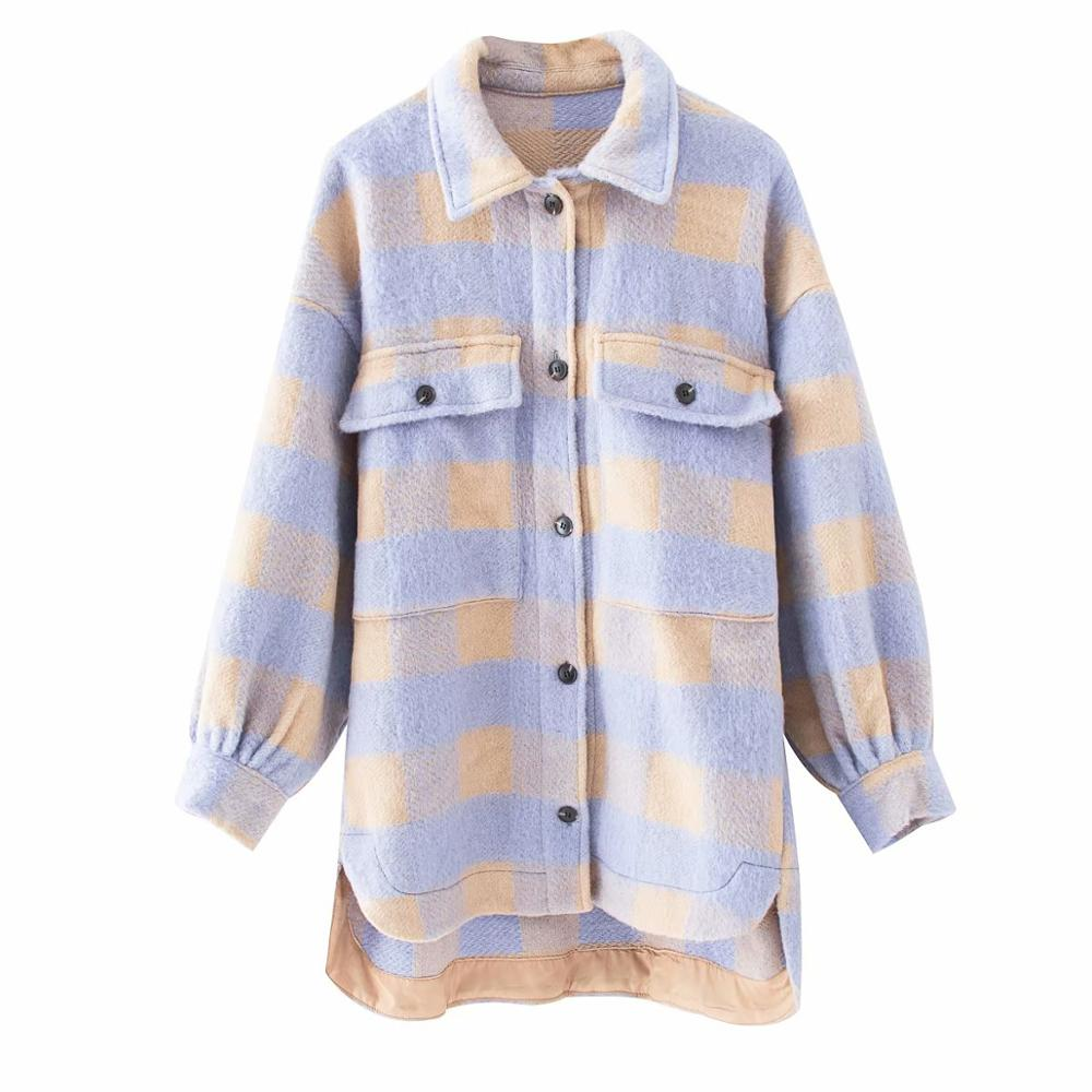 2020 Spring Women's Purple Yellow Plaid Coat Shirt Style Pockets Streetwear Woman Oversize Coats Female Jacket Chic