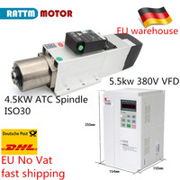 1pc 4.5KW ATC ISO30 Air cooled spindle motor 220V/380V Automatic Tool Changeable with 1pc 5.5kw FULING Inverter VFD 5.5kw 380V