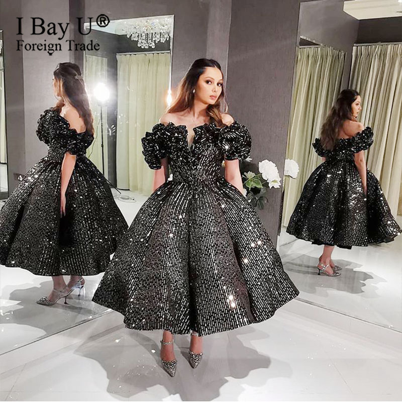 Shiny Sequin Ball Gown Black Silver Evening Dresses Party 2020 Luxury Arabic Dubai Sweet Prom Dresses
