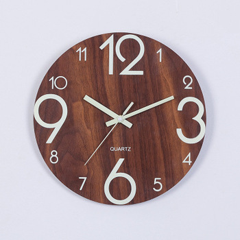 Wooden Wall Clock Luminous Number Hanging Clocks Quiet Dark Glowing Wall Clocks Modern Watches Decoration For Living Room 7