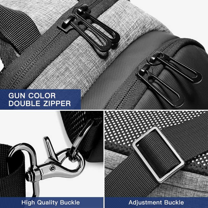 OZUKO Ba-lô Sạc USB Ngực Túi Chống Nước Đeo Vai Nam Messenger Đeo Chéo, Túi Trước Ngực Thời Trang Chuyến Đi Ngắn Sling Túi