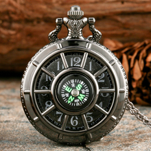 цена на Black Silver Quartz Pocket Watch for Men Women Compass Hollow Cover Starry Sky Dial Steampunk Clock Pendant Necklace Fob Watches