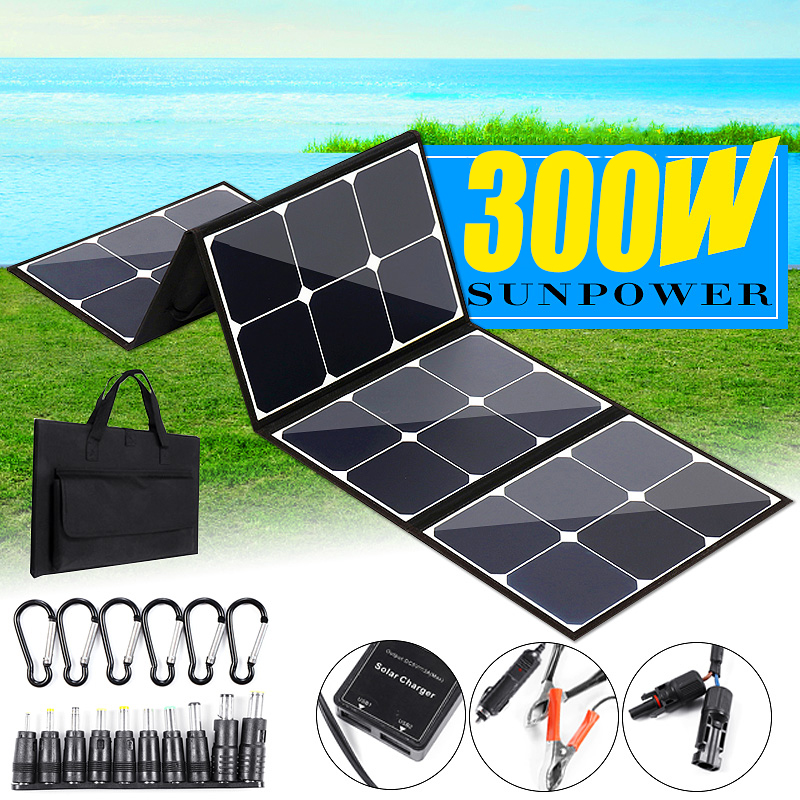 <font><b>300W</b></font> Portable <font><b>Solar</b></font> <font><b>Panel</b></font> 18V Folding Foldable Waterproof Charger Power Bank for Phone Battery USB Port for outdoor image