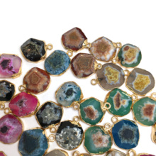 High Quality LE SKY Natural Gem Pendant Necklace Round Stone Pendants for Jewelry Making Supplies Diy necklace 15x20mm