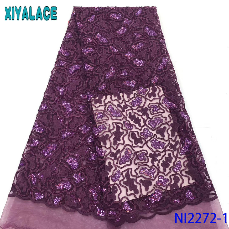 African Tulle Lace 2019,Hot Sale Sequin Fabric,Velvet Lace Fabric Embroidery Net Laces For Women Dresses KSNI2272-1