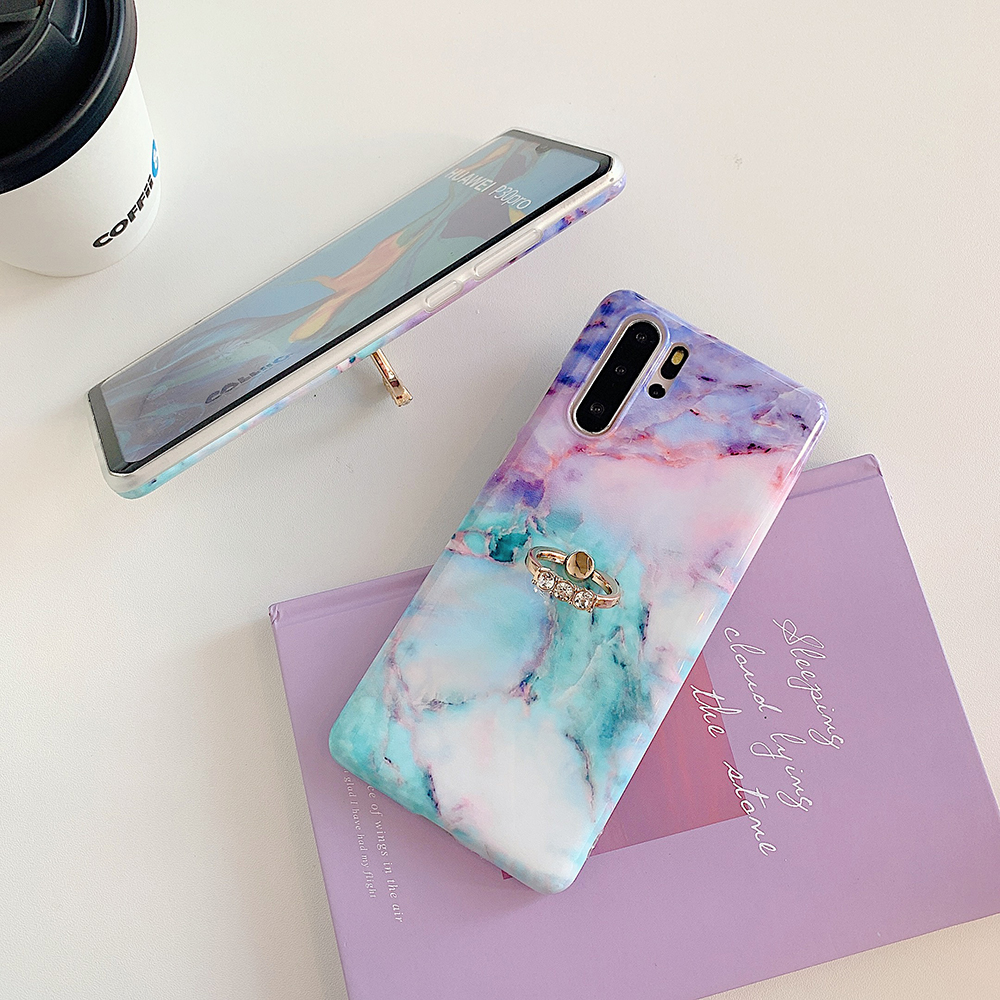 Gradient Marble Phone Case For Samsung Galaxy S10e S10 S9 S8 Plus S10 5G Note 10 9 8 With Finger Ring Soft Back Cover