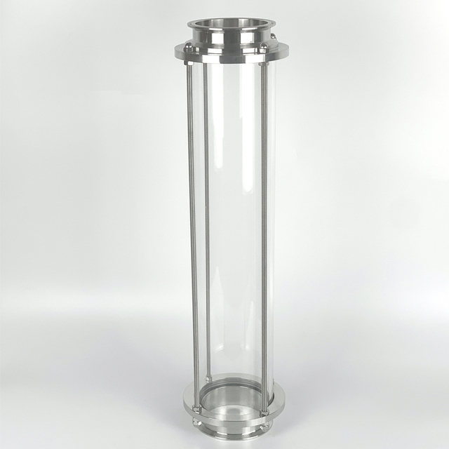 """Clamp 3"""" OD91mm  Glass Spool Pipe L=600mm . Long Diopter, Sight Glass Tower"""