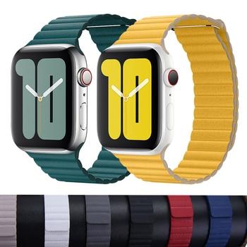 цена на Strap for APPLE WATCH 5 BAND 44MM 40mm Leather Loop iwatch band 38mm 42mm bracelet watchband correa apple watch series 5 4 3 2 1