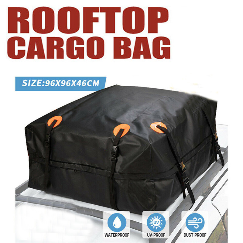96X96X46cm Car Roof Top Bag Roof Top Bag Rack Cargo Carrier Luggage Rooftop Black Storage Travel Waterproof SUV Van for Cars image