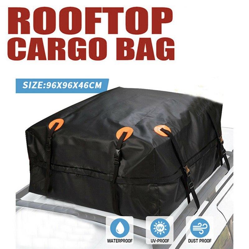 96x96x46 cm carro telhado superior saco telhado superior saco rack transportadora de carga bagagem rooftop preto viagem à prova dwaterproof água suv van para carros