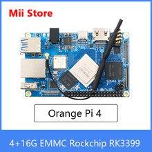 Orange Pi 4 Single Board Computer 4GB DDR4+16G EMMC Rockchip RK3399 Dual-coreCortex-A72+Quad-core Cortex-A53 Development Board